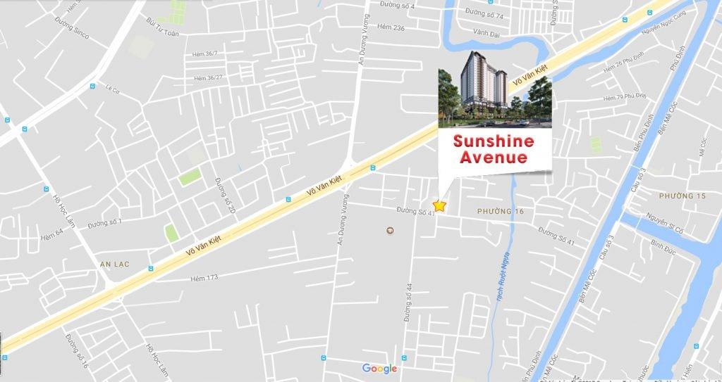 Vị trí Dự án Căn hộ Sunshine Avenue Quận 8