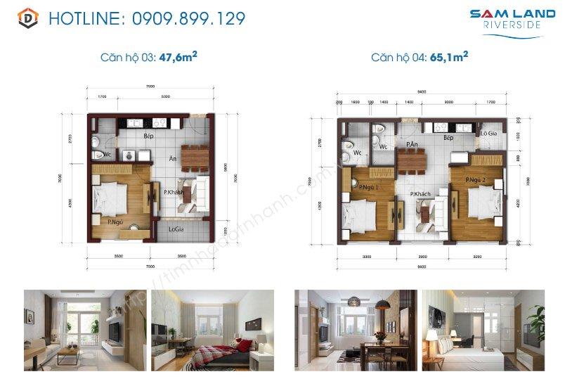 Thiết kế mặt bằng căn hộ Samland riverside 3-4