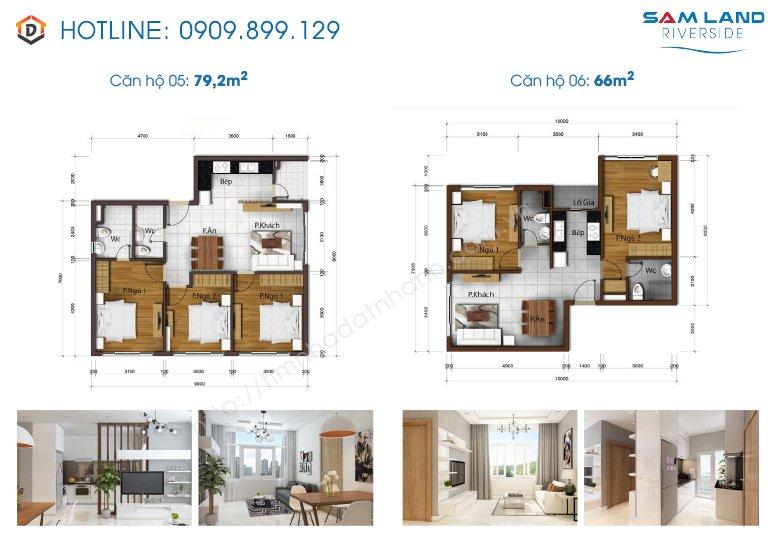 Thiết kế mặt bằng căn hộ Samland riverside 5-6