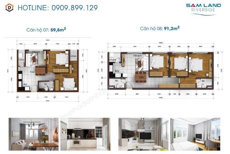 Thiết kế mặt bằng căn hộ Samland riverside 7-8